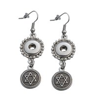 Cheap Five-pointed Star Pattern Round Shaped Dangle Hook Charm Earrings Fit DIY 12mm Snap Buttons With Safety Backs 5 Pairs