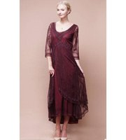 Wholesale 2016 New Popular Mother Of The Bride Dresses Tea Length V Neck Burgundy Lace Party Gowns Mother Gown