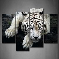 Черные отпечатки искусства Цены-Черно-белый Белый тигр Ли На Rock Wall Art Живопись Картины Печать на холсте животных изображения для украшения дома современный