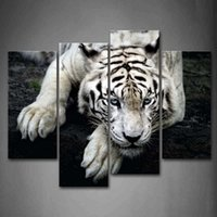 Wholesale Black And White White Tiger Lie On Rock Wall Art Painting Pictures Print On Canvas Animal The Picture For Home Modern Decoration