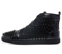 Wholesale Men Women Black Leather With Spikes Luxury Design Breathable High Top Red Bottom Casual Shoes loubis Fashion Flat Shoes