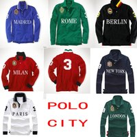 Wholesale Brand POLO Shirts Top Quality Embroidery Casual Mens Long Sleeve Shirts Paris London Rome New York Milan Berlin Loose Cotton Polo Shir