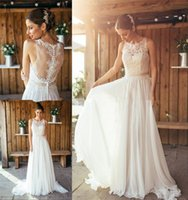 amanda crew - 2016 Spring Amanda Wyatt Boho Wedding Dresses A Line Crew Plus Size Long Chiffon Bohemain Greek Wedding Gowns Summer Beach Bridal