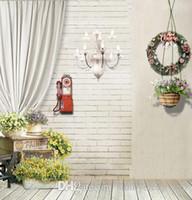 Кирпичная стена Белая занавеска Свадебный компьютер Окрашенные обои 5X7ft Виниловые фоны для фотосъемки Studio Decor Фото
