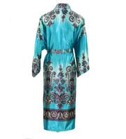 Wholesale New Vintage Blue Chinese Men Silk Robe Male Traditional Printed Long Nightwear Novelty Kaftan Kimono Bath Gown Unisex Plus Size