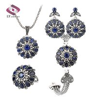 antique sapphire earrings - New Vintage Turkish Jewelry Sets Sapphire Crystal Flower Pendant Antique Silver Plated Bracelet Ring Necklace Earrings Set