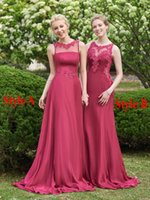 Wholesale Beach Bridesmaid Dresses Burgundy Vintage Appliqued Lace Long Floor Legnth Sheer Scoop Neck Plus Size Maid of The Honor Dress Custom Made