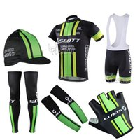 arm wear - 2016 new arrive SCOTT Cycling Jersey Short Sleeve yellow and black Bike Wear Cycling Gloves Caps and Arm warmer and Leg Warmer