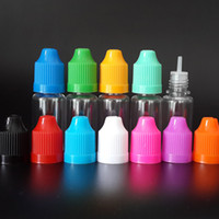Wholesale 10ml E cig Empty bottle PET Clear Plastic Dropper Bottles with Childproof Caps and long thin tip for E liquid E juice DHL