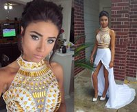 Wholesale 2015 Distinctive Two piece Prom Dresses with High Neck Gold Crystal Beaded Bodice Sheath White Chiffon Split Front Chapel Train Party Gown