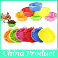 Wholesale Pet Dog Portable Bowl Silicone Collapsible Travel Bowl Dish Dog Cat Food Folding Bowls New Style