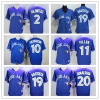 Wholesale NEW Toronto Blue Jays Men Women shirt Tulowitzki Encarnacion Pillar Bautista Donaldson Blue Majestic Baseball Jersey