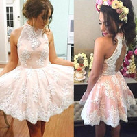 Wholesale 2017 Sparkly Short Lace Halter Homecoming Dresses Keyhole Backless A Line Prom Cocktail Party Gowns th Grade Graduation Gowns BA3646