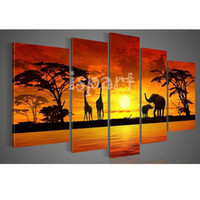 Cheap hand-painted bright golden sunset of africa landscape canvas oil painting african 5pcs set oil wall art decoration shining sunshine picture