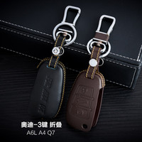 audi leather case - Genuine Leather Car Key Case Cover Buttons Folding For Audi A6L A4 Q7 Car Key Holder Bag Keychain Car Key Accessories