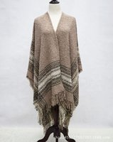 Wholesale New winter stripe circle yarn woman more open fork shawls euramerican style