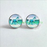 beach glass earrings - Unicorn Earrings fantasy style art gift Earrings glass Cabochon Earrings green horse with white feather in the beach ES