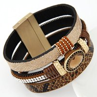 big east sports - 2016 Big Brand Fashion Gem Rhinestone Wide Magnetic Leather Bracelets Bangles for Women Men Wristband brazaletes pulseras mujer