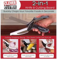 Wholesale Clever Cutter in Stainless Steel Kitchen Scissors with Sharp Knife Blade Cutting Board Kid Food Cutter and free drop