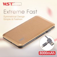 Wholesale WST New Cell Phone Power bank mAh Li polymer Portable External Battery Ultra thin Powerbank Built in Cable DP622