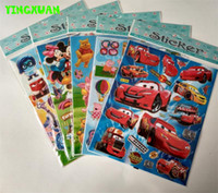 Wholesale 50 Sheets hot Cartoon Characters Kids PVC Stickers for books Girls Boys Bear Pig Cars Toys for children