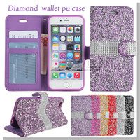 Wholesale For Iphone Case Galaxy ON5 Note Wallet Case Diamond Case Iphone Case LG K7 Stylo Bling Bling Case Crystal PU Leather Card Slot Opp Bag