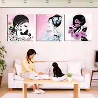 beach beauty pictures - Pieces unframed on Canvas Prints Cartoon sketch beauty woman sea sandy beach Wooden boat rose stone building Plum Lavender