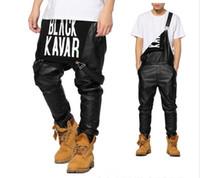 achat en gros de salopettes pour les hommes-New Arrivage Mode Hommes Femmes Hommes Hiphop Hip Hop Swag Noir Cuir Gilets Pantalons Jogger Urbain Habillement Vêtements Justin Bieber