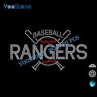 baseball batting t - 2016 New Product Baseball Bats Rangers Rhinestone Heat Transfers Factory For Sale Hot Fix Motif For Sports t Shirt