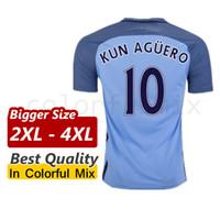 Wholesale Bigger Size XL XL XL Mans City KUN AGUERO TOURE YAYA Manchesters City Jersey XXL XXXL XXXXL Camiseta de futbol Shirts