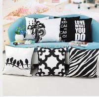 baby sham - Black and White Printed Cotton Canvas pillowcase cushion pillow sham Bird Geometric Decorative Pillow x45CM