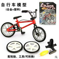 Wholesale New Arrival Alloy Mini Finger Bikes BMX Toys Bikes Model Mini finger bmx With Tools Spare Tire Tools Fixie For Children Gifts