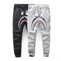 animal fleeces - Men s Black Grey Shark Pant Trousers Fashion WGM Harem Pants Autumn Winter Fleece Sportswear Long Trousers Jogger Running Sweatpant