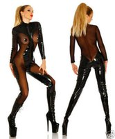 Wholesale High quality women Sexy Spandex Latex Catsuit Erotic Leather mesh Catsuit lingerie dress For Women Latex Catsuit Clothing S XXL
