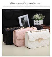 Wholesale 2016 New Fashion Women s Lingge Rhinestone chain Shoulder Bags Satchel SCF Handbag Black Pink White