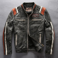 Wholesale 2017 AVIREXFLY motorcycle jackets indian head Embroidery leather jackets stand collar vintage leather