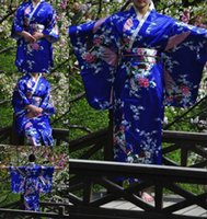 Wholesale HOT Vintage Kimono Costume Yukata Gown Japanese Floral Robe Haori Dress with Obi Geisha kimono Dress One Size