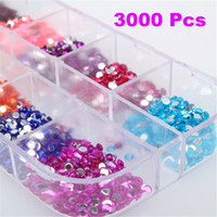 Wholesale 3000 Round Nail Art Rhinestones Nail Glitter Decoration Mixed Colors in Case Nail Art Kit