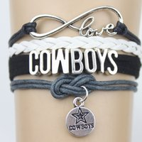 Wholesale Stainless Steel Cowboy Bracelet - Infinity Love Cowboys Football Dallas Team Sports Bracelets Team Navy Silver Women Men Lady Girl Jewelry Gift Custom Drop Shipping