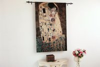 Wholesale The Kiss by Gustav Klimt Fine Fine Art Tapestry Wall Hanging Home Decor Gift Cotton Jacquard Woven x cm