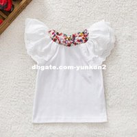 Wholesale Retail Kids Baby Girls Cute Floral Collar T shirts Short Sleeve Tops Blouse Baby T shirts Y