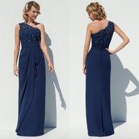 Wholesale chiffon bridesmaid dresses One shoulder Sheath navy blue evening dressess Long karin grace special occasion dresses for women QW801