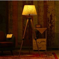 Wholesale Wonderland Fabric Lampshade Wood Floor Lamp American Rustic Vintage Art Country Decoration Foyer Home Living Room Bedside F