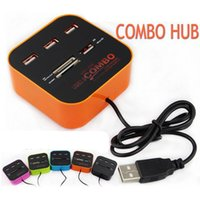 Wholesale 3 Ports USB HUB With Multi Card Reader Combo For SD MMC M2 MS All In One DHL Free OTH225