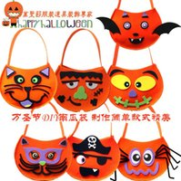 apricot candy - Halloween Pumpkin Bag Children s Candy Bag Handmade DIY Handbag Halloween Decorations Costumes Cosplay Costume Accessories Hot Sale
