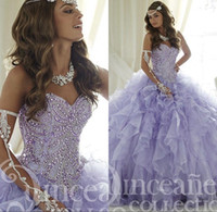 Wholesale 2017 New Crystals Blush Lavender Quinceanera Dresses Sexy Sheer Sweet Ruffle Ruffles Skirt Lace up Princess Prom Ball Party Gowns