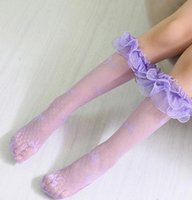 Cheap 2016 new children socks Princess Baby Girls Lace Socks Children Clothing Baby Clothes butterfly gauze ruffle Long Sock Stocking A8107