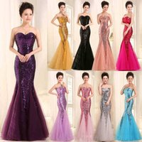 Wholesale 2016 Sequin Evening Dresses Cheap Bridesmaid Dresses Long Formal Gowns Mermaid Evening Gowns with Sweetheart and Zipper Back