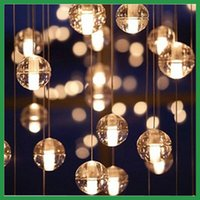 Wholesale LED Crystal Glass Ball Pendant Lamp Meteor Rain Ceiling Light Meteoric Shower Stair Bar Droplight Chandeliers Lighting AC110V V
