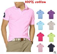 Wholesale Hot High quality cotton shirts for man and woman brand casual solid polo T shirts with short sleeve colors plus size